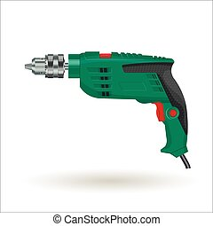 Electric drill, realistic vector illustration, isolated on...