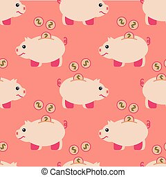 Seamless pattern of piggy bank and coins