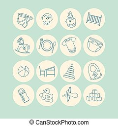 Child and baby care center thin line icons. Kindergarten...