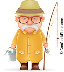 Old Fisherman Grandfather 3d Realistic Cartoon Character...