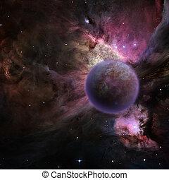 Mysterious planet, purple nebula