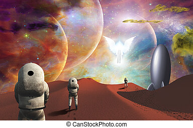 Space journey - Meeting with the angel