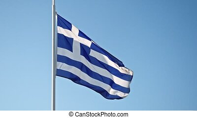 Greece flag waving in the wind against the sky. 4K. UHD