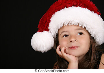 Christmas girl - Cute little brunette girl wearing a...