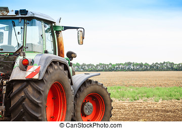 Rural landscape with a tractor