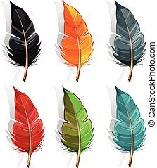 Bird Feather Set - Illustration of a cartoon set of feathers...