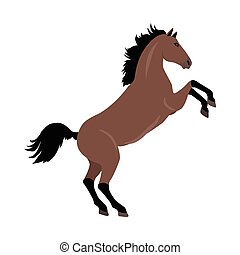 Rearing Sorrel Horse Illustration in Flat Design - Rearing...