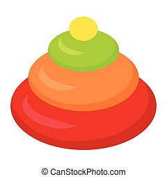 Stacking Toy Pyramidion Isolated on White. Child - Stacking...
