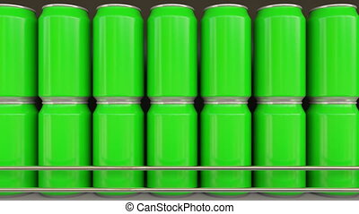 Lines of green cans at grocery store. Carbonated drinks or...