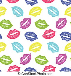 Vector seamless pattern with colorful lips. Repeating...