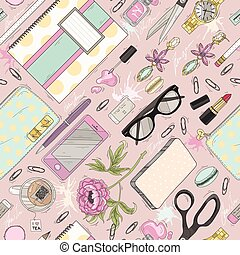 Seamless beauty pattern with make up. Cute seamless office pattern