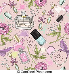 Seamless beauty pattern with accessory