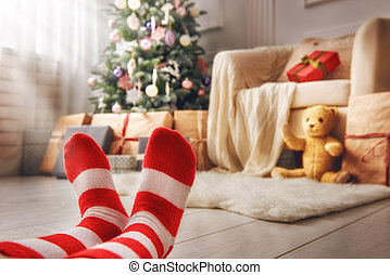 Cute little feet of child - Merry Christmas and Happy...