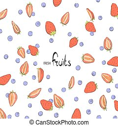 Background of strawberries and blueberries