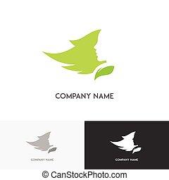 Pretty woman with leaf logo