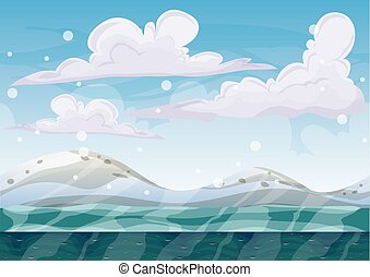 cartoon vector snow landscape background with separated layers for game and animation