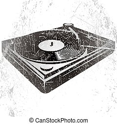 illustration in retro style with DJ console on gray...
