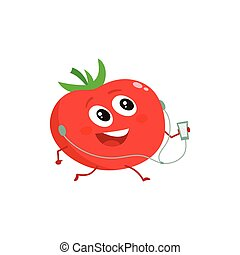 Ripe red running tomato with music player and earphones