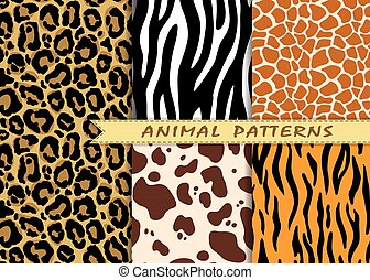 Vector seamless patterns set with animal skin texture....