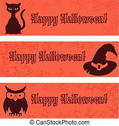 Halloween banners, placards with halloween elements: black cat, hat, owl.