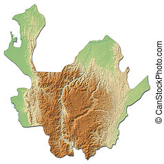 Relief map - Antioquia (Colombia) - 3D-Rendering