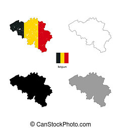 Belgium country black silhouette and with flag on...
