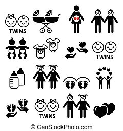 Twin babies icons set - double pram