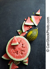 Slice of watermelon on background