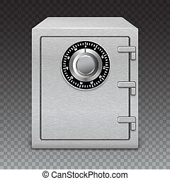 Icon metal box on transparent background. Safe with digital lock, sophisticated details.