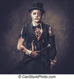 Dressed in wedding clothes romantic zombie man. - Dressed in...