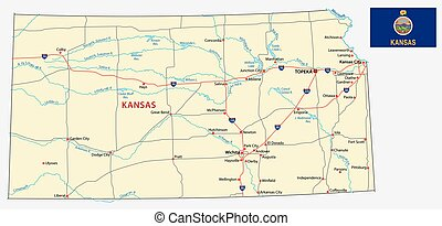 kansas road map with flag