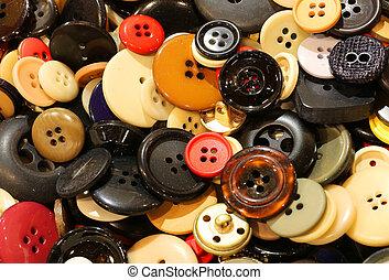 muitos, venda, Botões, fundo, pulga, mercado, roupas