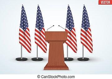 Wooden Podium Tribune US flags - Wooden Podium Speaker...