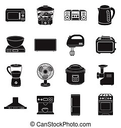 Household appliances set icons in black style. Big collection household appliances vector symbol stock illustration