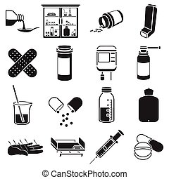 Medicine and hospital set icons in black style. Big...