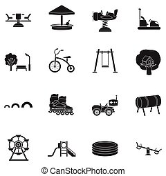 Play garden set icons in black style. Big collection play...