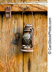 Oil lamp - Very old and rusty brown oil lamp