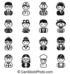Proffesion set icons in black style. Big collection...