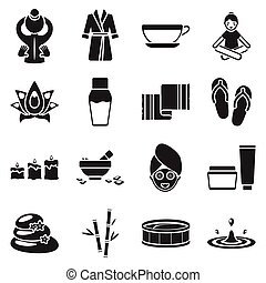 Spa set icons in black style. Big collection spa vector...