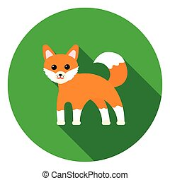 Fox icon in flat style isolated on white background. Animals...