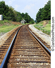 Railroad Tracks in the Country - Train tracks curve into the...