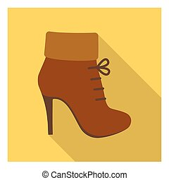 Woman boot icon in flat style isolated on white background. Clothes symbol stock vector illustration.