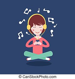 Happy Girl with headphones listening to the music.