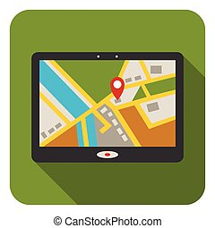 GPS icon in flat style isolated on white background....
