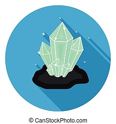 Crystals icon in flat style isolated on white background....