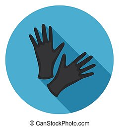 Black protective rubber gloves icon in flat style isolated...