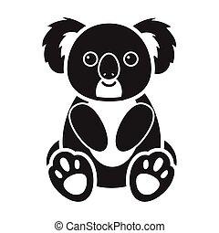 Koala icon in black style isolated on white background....