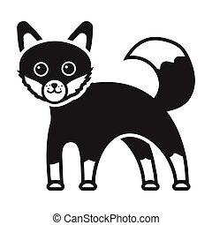 Fox icon in black style isolated on white background....