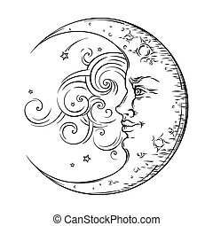 Antique style hand drawn art crescent moon. Boho chic tattoo...