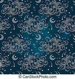 Vector seamless pattern with celestial bodies - moons, stars...